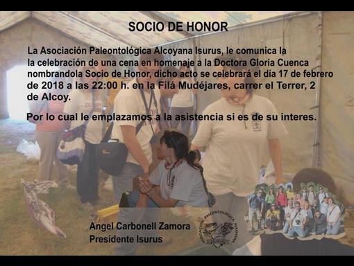 Nombramiento como Socia de Honor a Dña. Gloria Cuenca