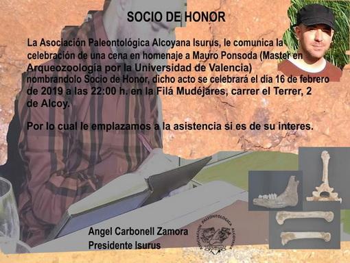 Nombramiento como Socio de Honor a Don Mauro Ponsoda